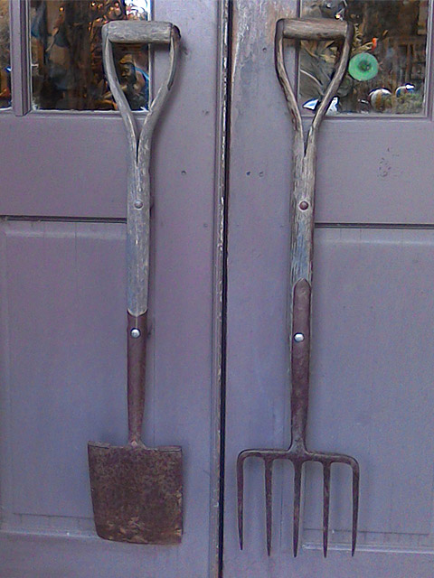 Garden tools for door handles