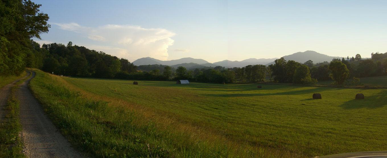asheville farm pasture looking west